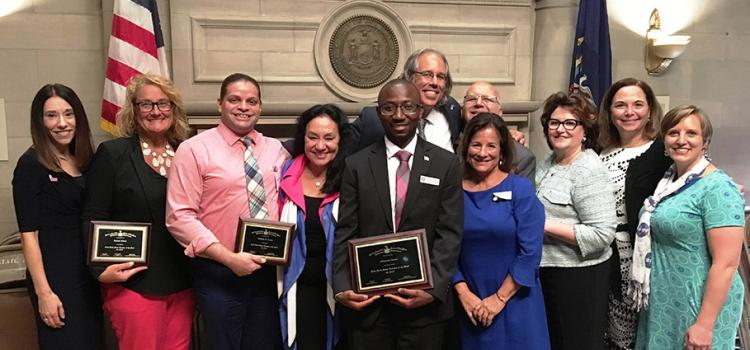 2019 NYS Teacher of the Year Alhassan Susso and finalists Rachel Murat and William H. Green, pictured with Chancellor Rosa, Commissioner Elia, and past NYS Teachers of the Year