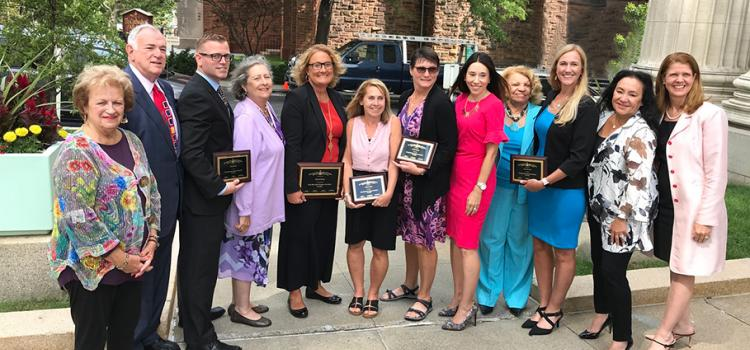 2020 NYS Teacher of the Year Rachel Murat and finalists with Chancellor Rosa, Regents, Beth Berlin, and past NYS Teachers of the Year