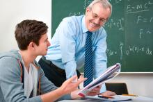 student and teacher in math classroom