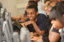 Students sitting in a computer lab
