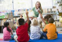 Kindergarten teacher reading