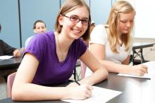 Students working in class.